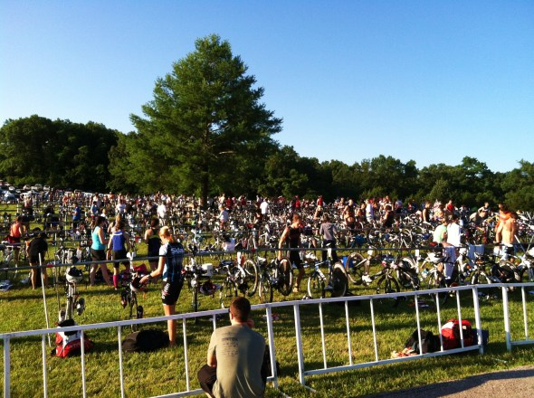 This is the transition area where everyone went in and out of between each part of the race.  Everyone had all of their transition gear neatly packed in cool, sporty backpacks.  Me?  I used a cool, sporty TJ Maxx bag.