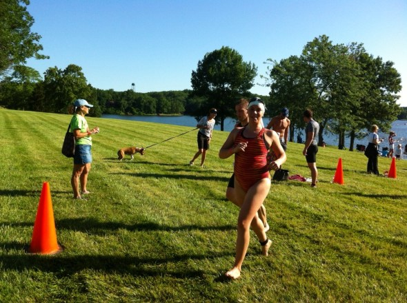 """The swim was ABSOLUTELY CHAOTIC AND TERRIFYING.  But I did it.  I DID IT!  The whole run back up to the transition area I was saying, """"I swam in a lake!  I swam in a lake!"""""""