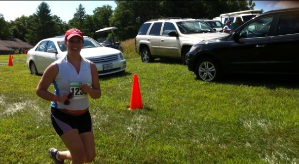 """This is a still shot I took from a video Andrew made of me running to the finish line.  I was saying, """"WE DID IT!!!!"""""""