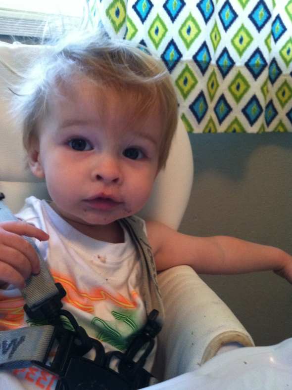 Kid loves him some blueberry pancakes.
